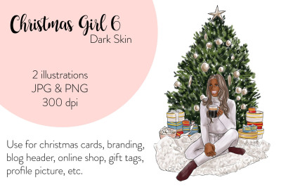 ?Watercolor FashionIllustration -Christmas Girl 6 - Dark Skin