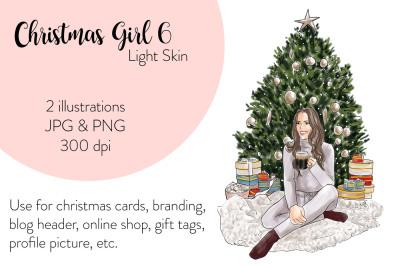 Watercolor FashionIllustration -Christmas Girl 6 - Light Skin