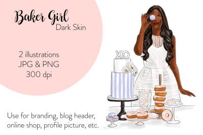 Watercolor FashionIllustration -Baker Girl - Dark Skin