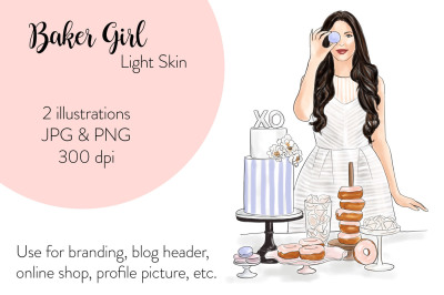 Watercolor FashionIllustration -Baker Girl - Light Skin