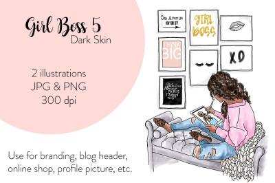 Watercolor FashionIllustration -Girl Boss 5 - Dark Skin