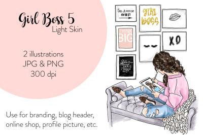 Watercolor FashionIllustration -Girl Boss 5 - Light skin