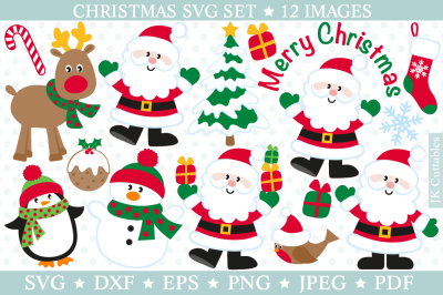 Christmas SVG DXF PNG EPS, Christmas cut files, Santa svg