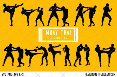 Muay Thai  Silhouette Vector