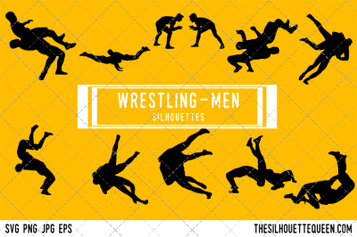 Male Wrestling  Silhouette Vector