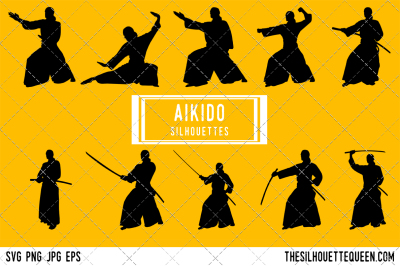 Aikido  Silhouette Vector