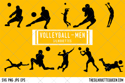 Volleyball Men Silhouette Vector