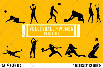 Volleyball Women Silhouette Vector