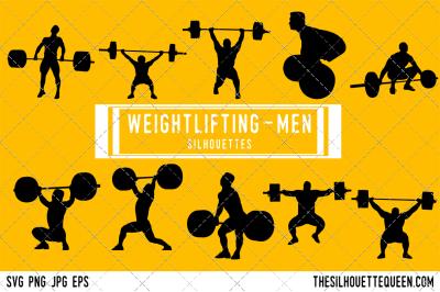 Weightlifting Men Silhouette Vector