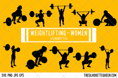 Weightlifting Women Silhouette Vector