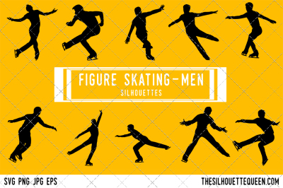 Figure Skating Men Silhouette Vector