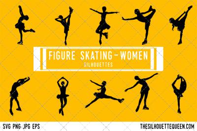 Figure Skating Women Silhouette Vector