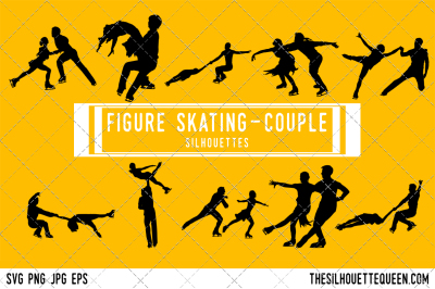 Figure Skating Couple Silhouette Vector