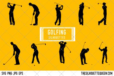 Golfing Silhouette Vector