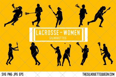 Lacrosse - Women Silhouette Vector