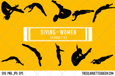 Diving Women Silhouette Vector