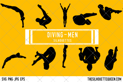 Diving  Men Silhouette Vector