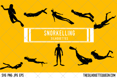 Snorkelling  Silhouette Vector