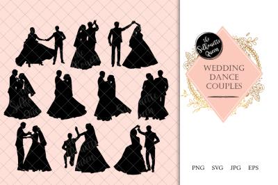 Wedding Couple Dance Silhouette Vector
