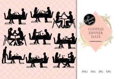 Couple Dinner Date Silhouette Vector