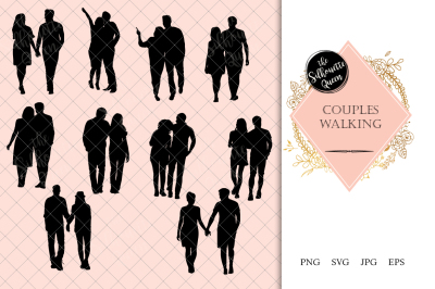 Couple Walking Silhouette Vector