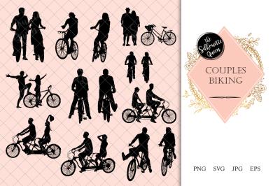 Couples Biking Silhouette Vector