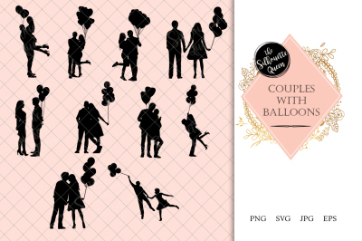 Couples with Balloons Silhouette Vector