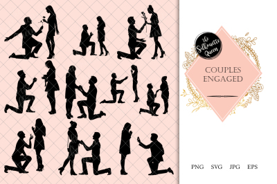 Couples Engaged Silhouette Vector