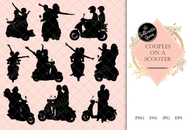 Couples on a Scooter Silhouette Vector