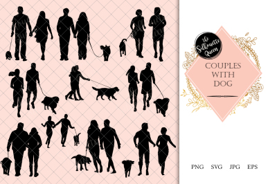 Couples with Dog Silhouette Vector