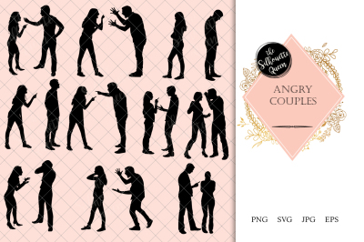 Angry Couples Silhouette Vector