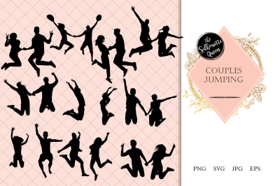 Couples Jumping Silhouette Vector
