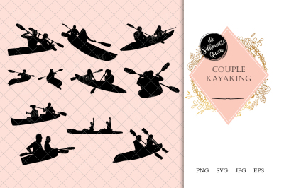 Couples Kayaking Silhouette Vector