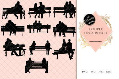 Couples on a Bench Silhouette Vector
