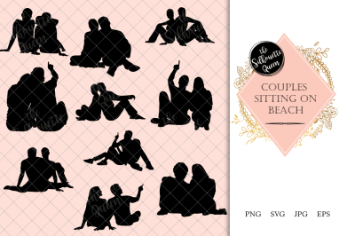 Couples Sitting on a Beach Silhouette Vector