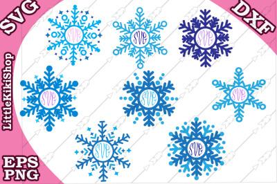 Snowflakes Monogram Svg