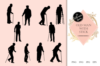 Old Man with Stick Silhouette Vector