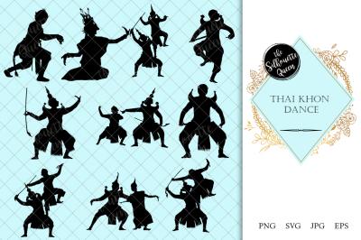 Thai Khon Dance Silhouette Vector