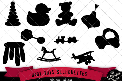 Baby Toys Silhouette Vector