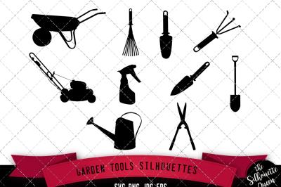 Garden Tools Silhouette Vector