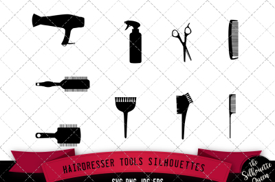 Hairdresser Tools Silhouette Vector