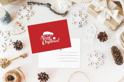 HoHoHo Merry Christmas Holiday Postcard Card