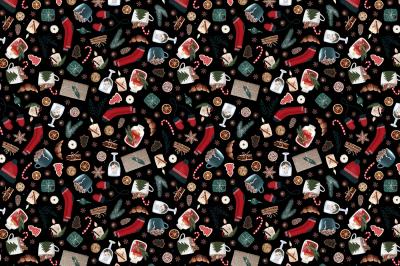 Black Hygge Winter Christmas Pattern