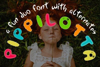 PIPPILOTTA a fun duo font with alternates