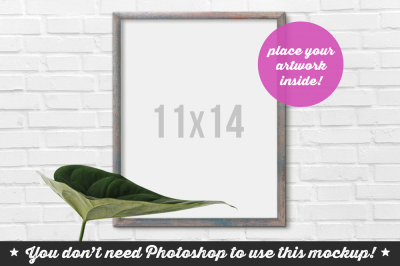 Non Photoshop Mockup Frame with Leaf