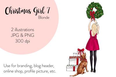 Watercolor FashionIllustration -Christmas Girl 7 - Blonde