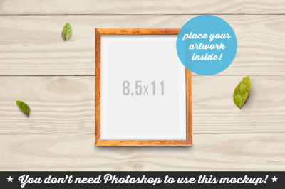 Non Photoshop Mockup Woden Frame with Leafs