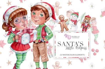 Santa's Little Helpers Watercolor Clipart