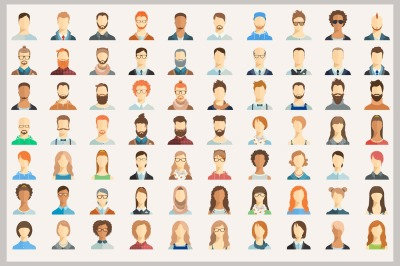 Set of 70 avatar icons. Also with faces.