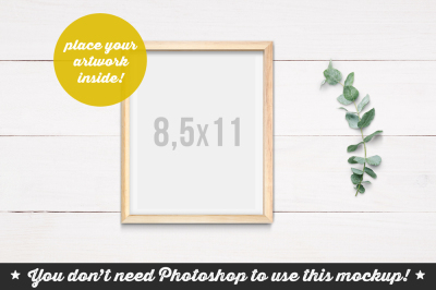 Non Photoshop Mockup Wooden Frame on the Planks